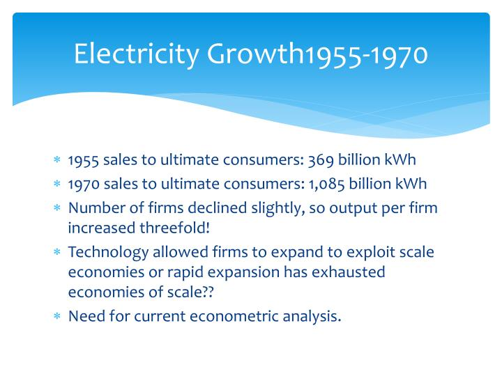 Electricity Growth1955-1970