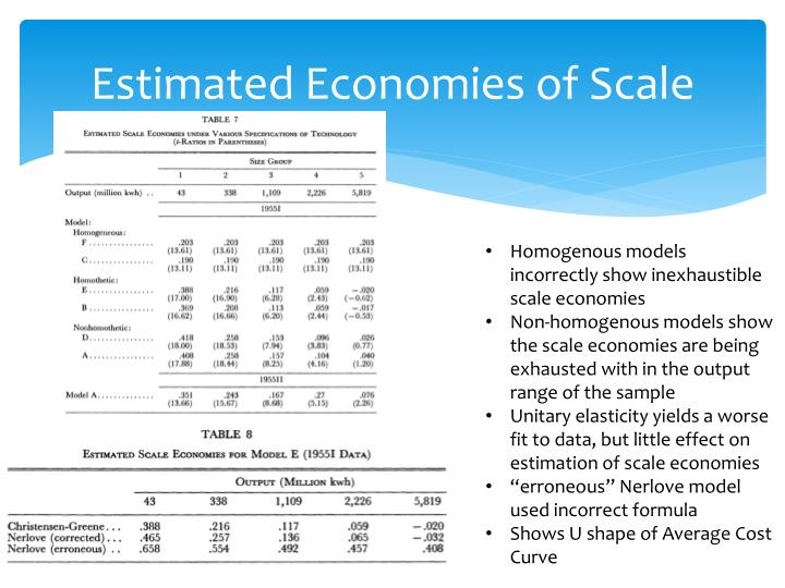 Estimated Economies of Scale