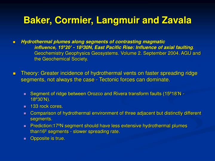 Baker, Cormier, Langmuir and Zavala