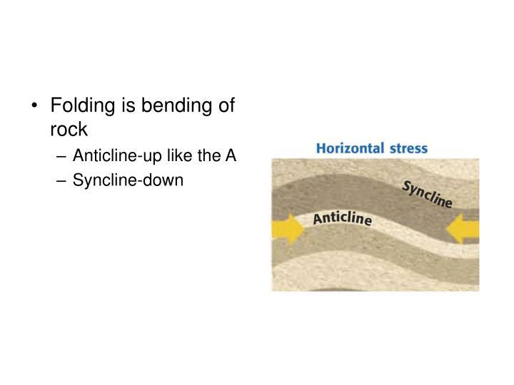 Folding is bending of rock