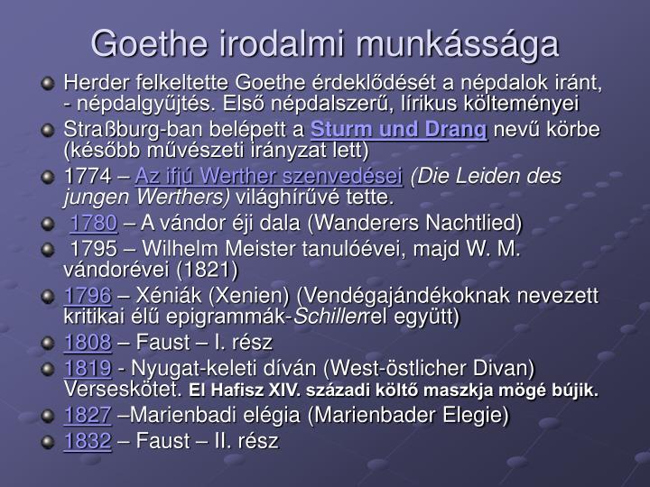 Goethe irodalmi munkássága