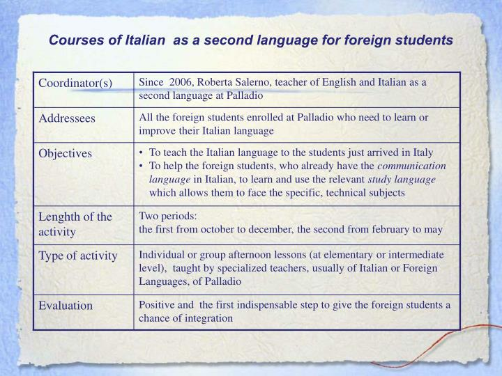 Courses of Italian  as a second language for foreign students