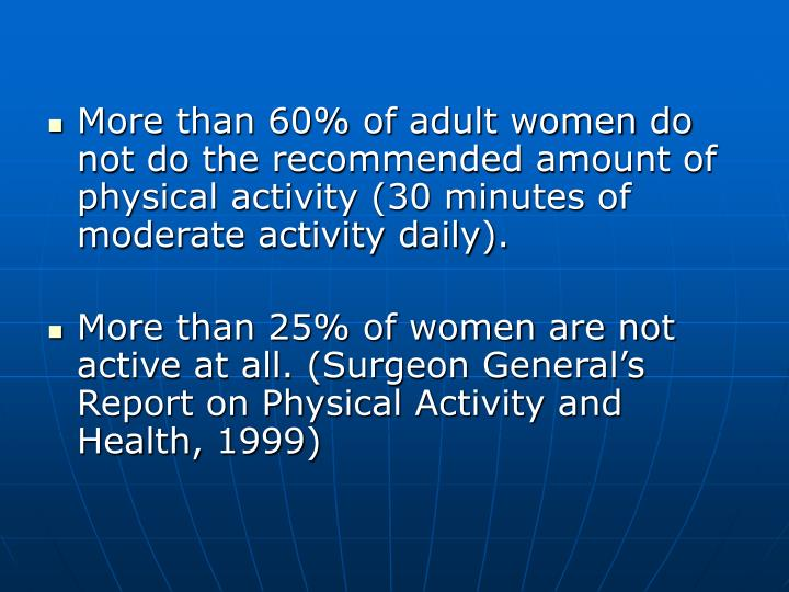 More than 60% of adult women do not do the recommended amount of physical activity (30 minutes of moderate activity daily).