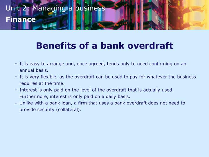 Benefits of a bank overdraft