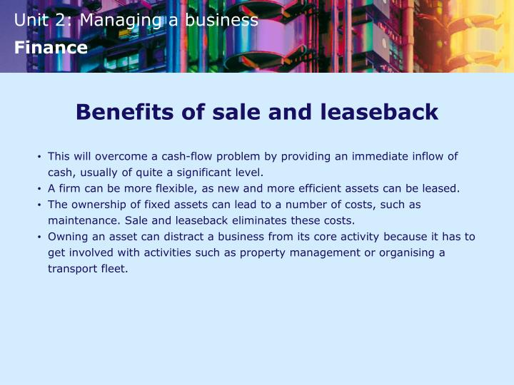 Benefits of sale and leaseback
