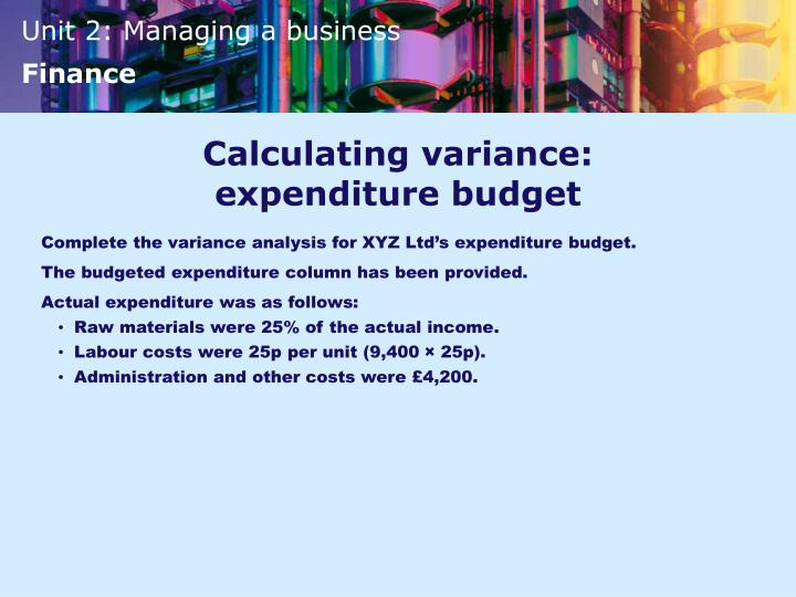Calculating variance: