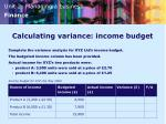 calculating variance income budget