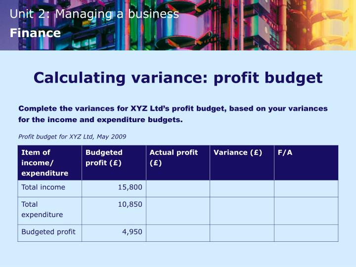 Calculating variance: profit budget