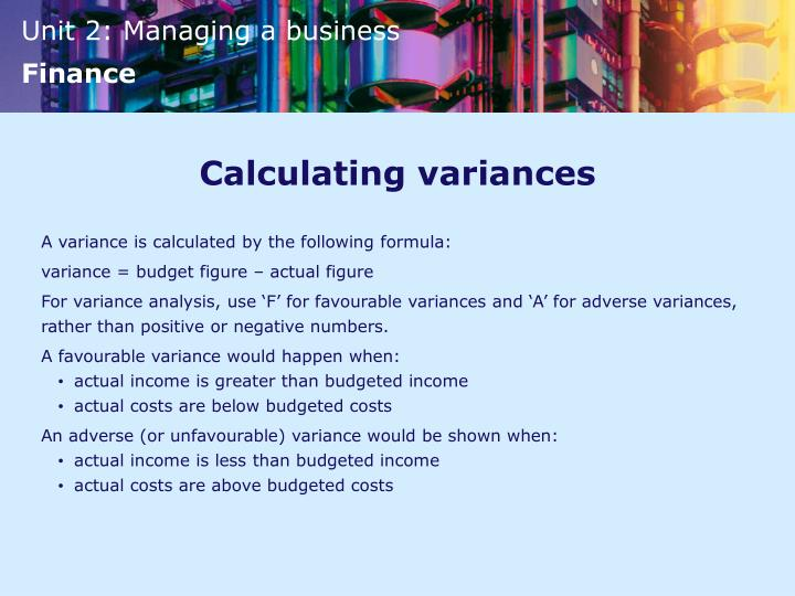 Calculating variances
