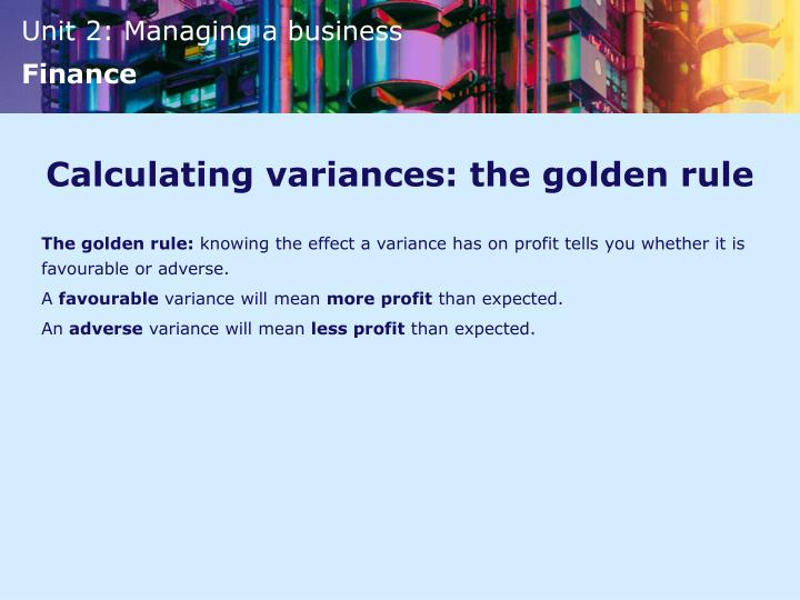 Calculating variances: the golden rule