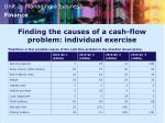 finding the causes of a cash flow problem individual exercise
