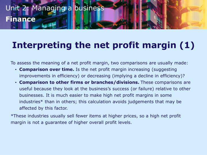 Interpreting the net profit margin (1)