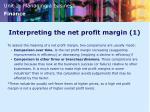 interpreting the net profit margin 1
