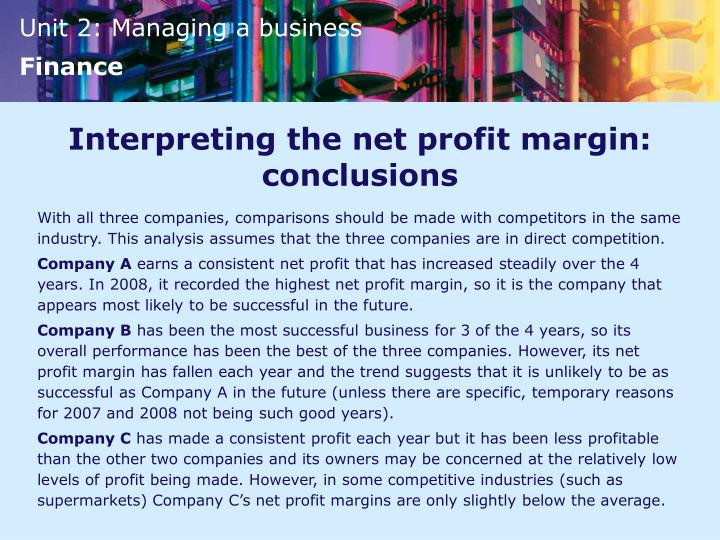 Interpreting the net profit margin: conclusions