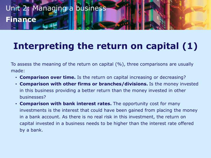 Interpreting the return on capital (1)
