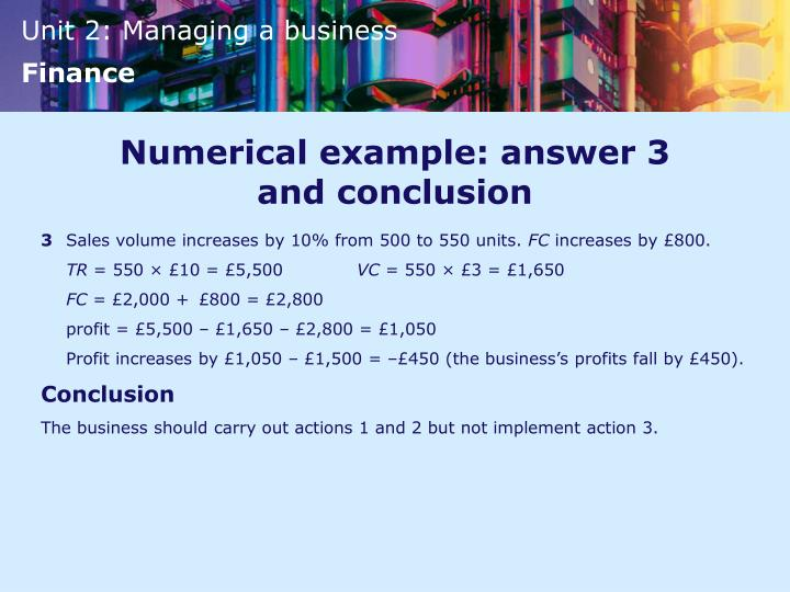Numerical example: answer 3