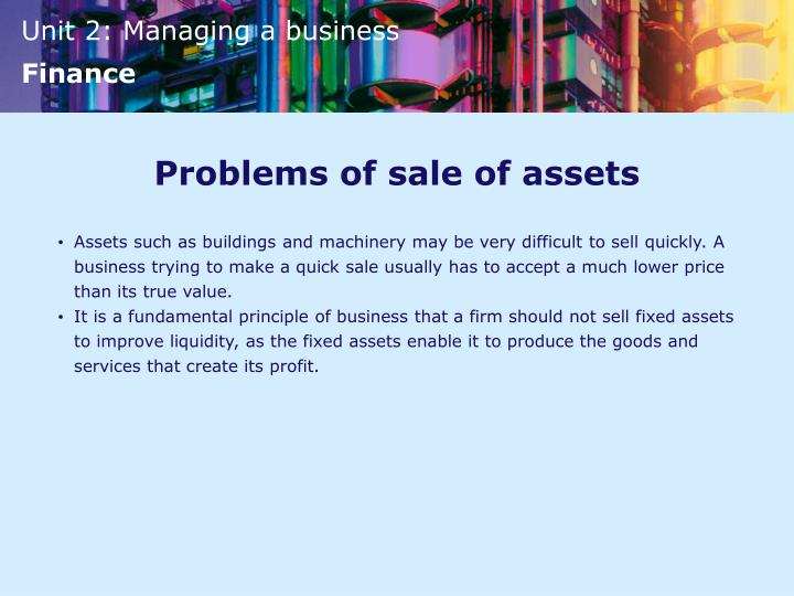Problems of sale of assets