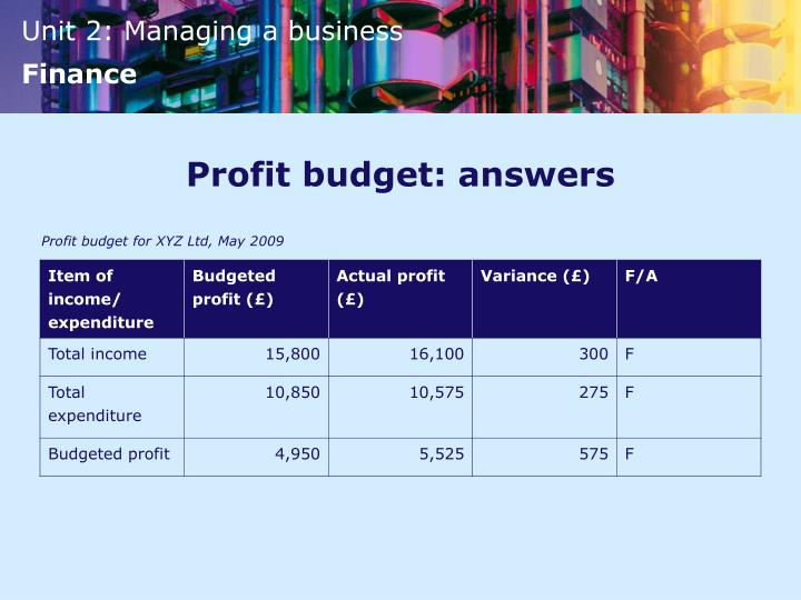 Profit budget: answers