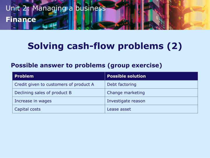 Solving cash-flow problems (2)