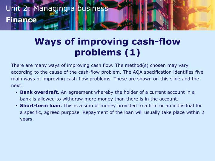 Ways of improving cash-flow problems (1)
