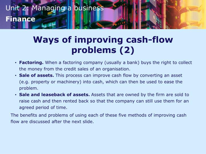Ways of improving cash-flow problems (2)