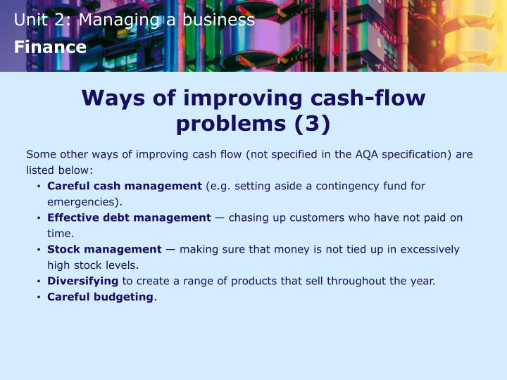 Ways of improving cash-flow problems (3)