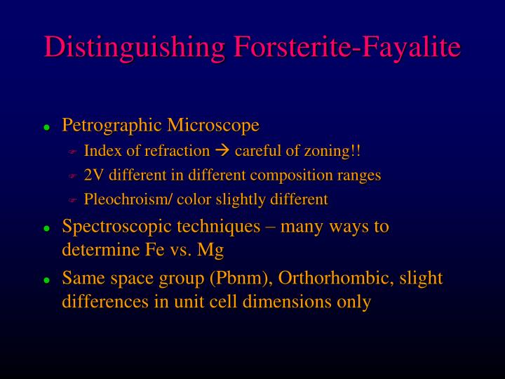 Distinguishing Forsterite-Fayalite
