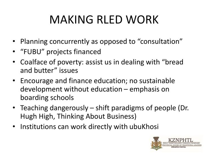 MAKING RLED WORK