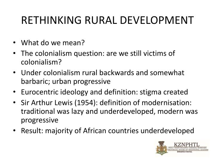 RETHINKING RURAL DEVELOPMENT