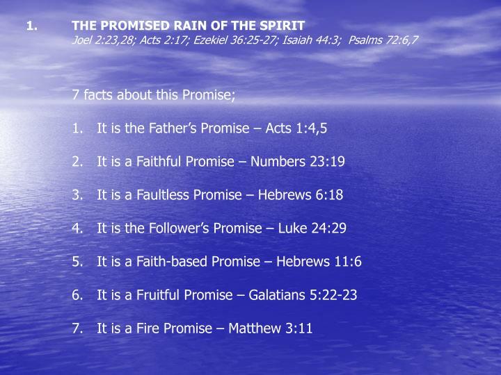 THE PROMISED RAIN OF THE SPIRIT
