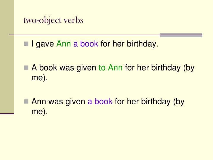 two-object verbs