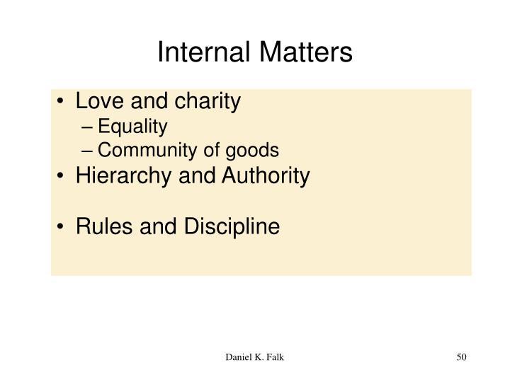 Internal Matters