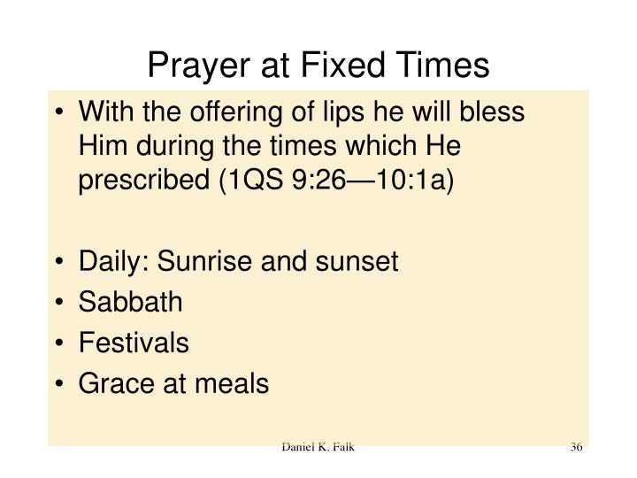 Prayer at Fixed Times