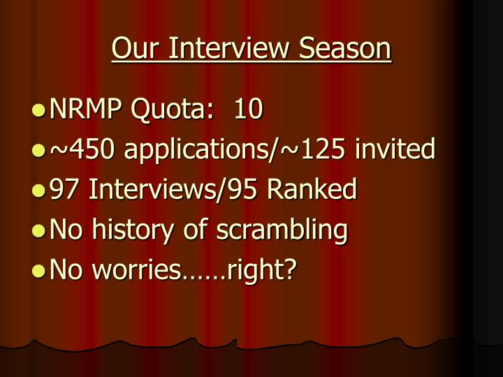 Our Interview Season