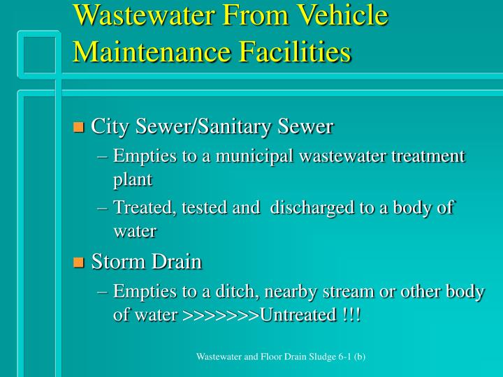 Wastewater From Vehicle Maintenance Facilities