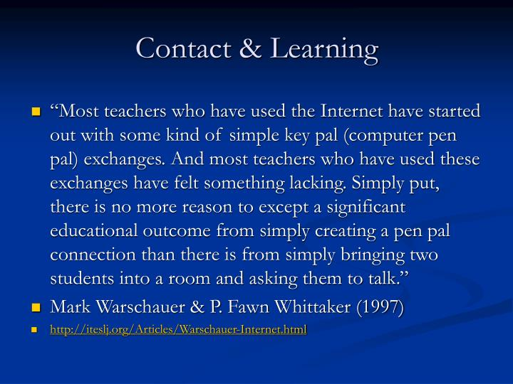 Contact & Learning