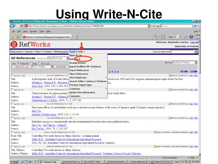 using refworks write and cite refworks