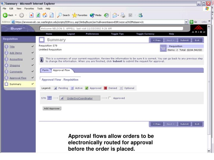 Approval flows allow orders to be electronically routed for approval before the order is placed.