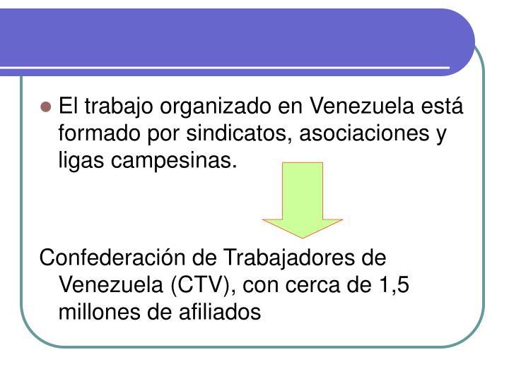 El trabajo organizado en Venezuela está formado por sindicatos, asociaciones y ligas campesinas.