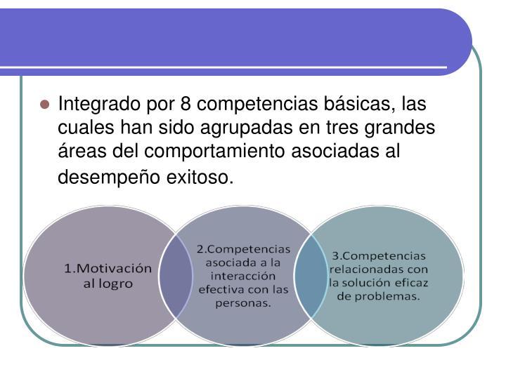 Integrado por 8 competencias básicas, las cuales han sido agrupadas en tres grandes áreas del comportamiento asociadas al desempeño exitoso.