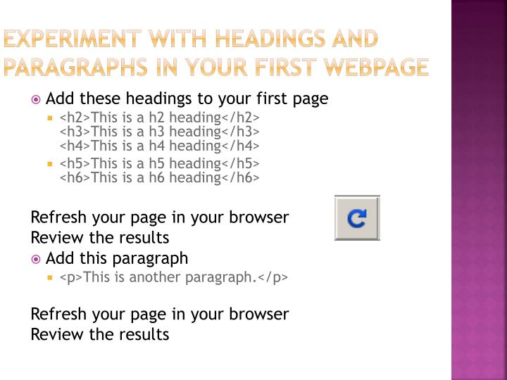 Experiment with headings and paragraphs in your first webpage