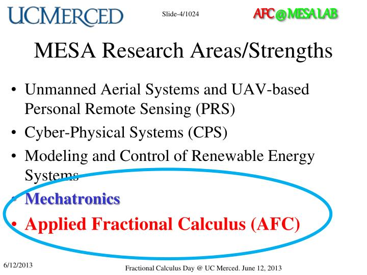 MESA Research Areas/Strengths