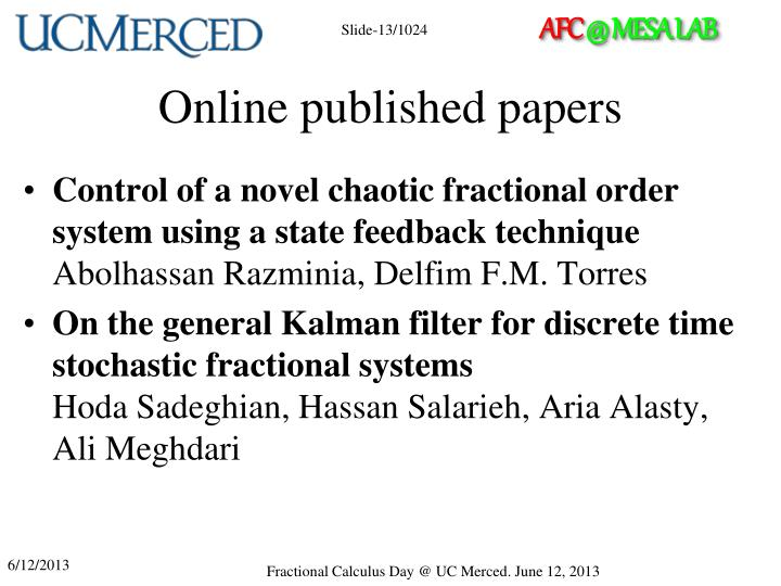Online published papers