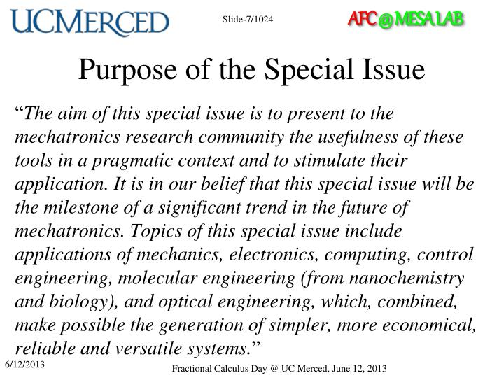 Purpose of the Special Issue