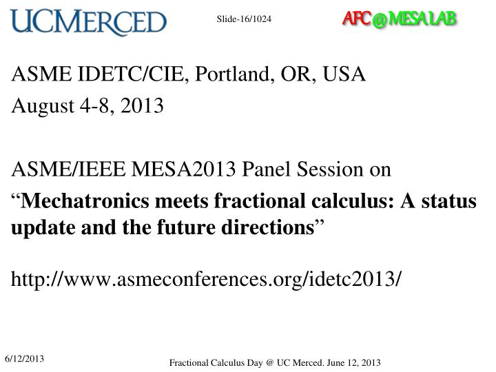ASME IDETC/CIE, Portland, OR, USA