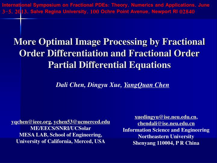 International Symposium on Fractional PDEs: Theory,