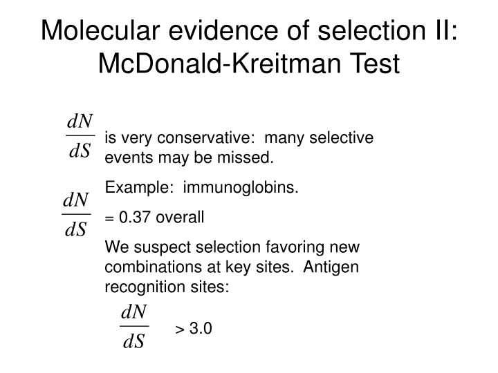 Molecular evidence of selection II:  McDonald-Kreitman Test