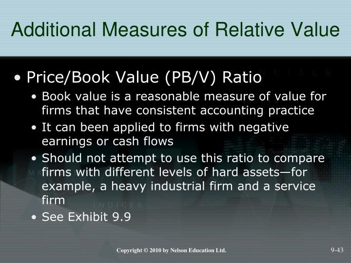 Additional Measures of Relative Value