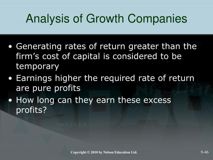 Analysis of Growth Companies