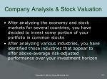 company analysis stock valuation